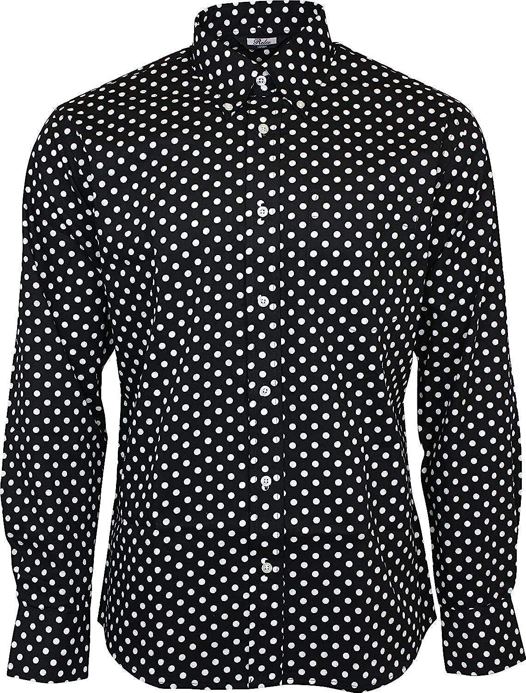 Relco Mens Black Lunares Manga Larga con Botones 100% Camisa de Algodón