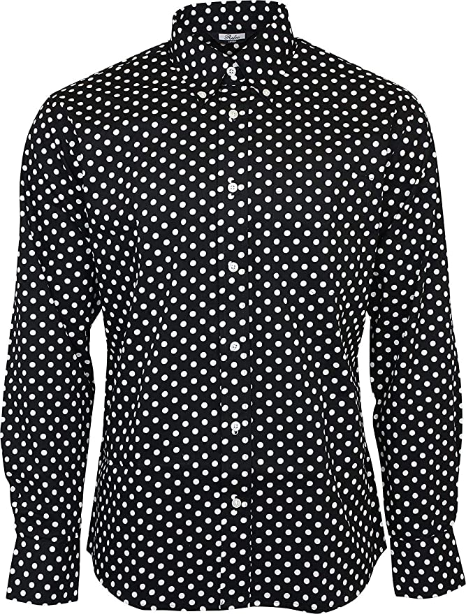 1960s Mens Shirts | 60s Mod Shirts, Hippie Shirts Relco Mens Black Polka Dot Longsleeve Button Down 100% Cotton Shirt £34.99 AT vintagedancer.com