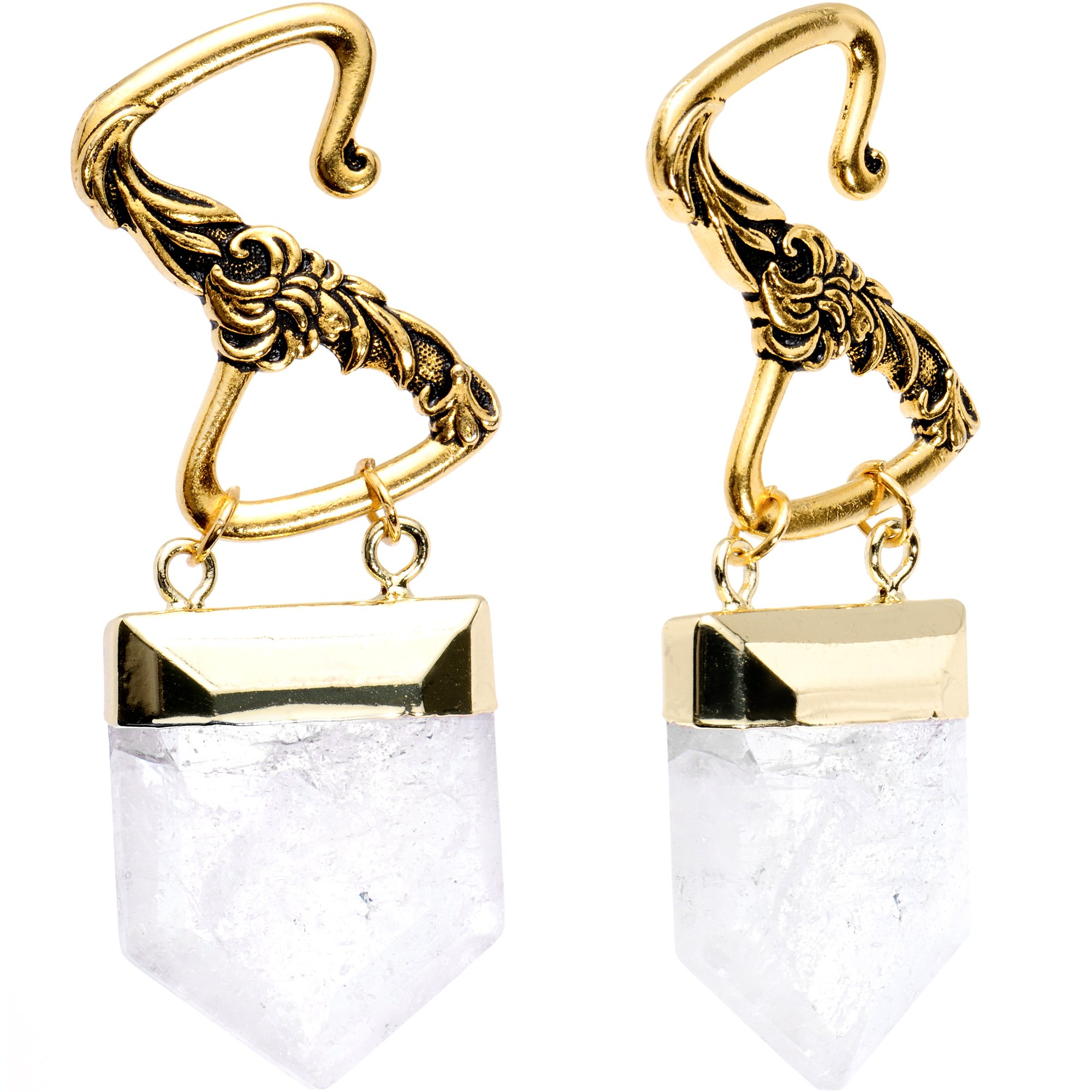 Body Candy Handcrafted Quartz Crystal Rustic Brass Plated Hook Ear Weights