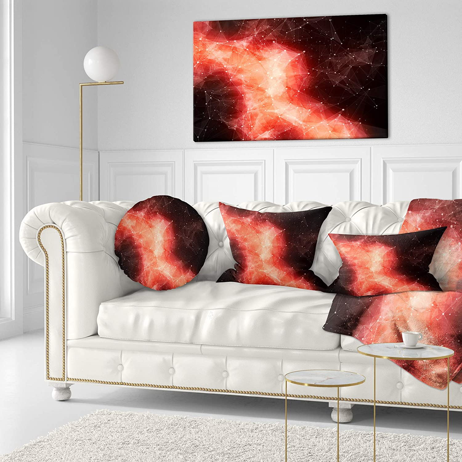 Insert Printed On Both Side Sofa Throw Pillow 16 Designart CU9680-16-16-C Red Nebula in Cosmos Contemporary Round Cushion Cover for Living Room