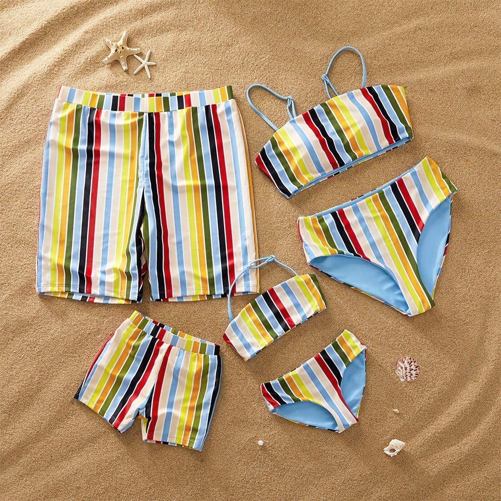 Yaffi Family Matching Swimwear Two Pieces Bikini Set Colorful Stripes Beach Wear