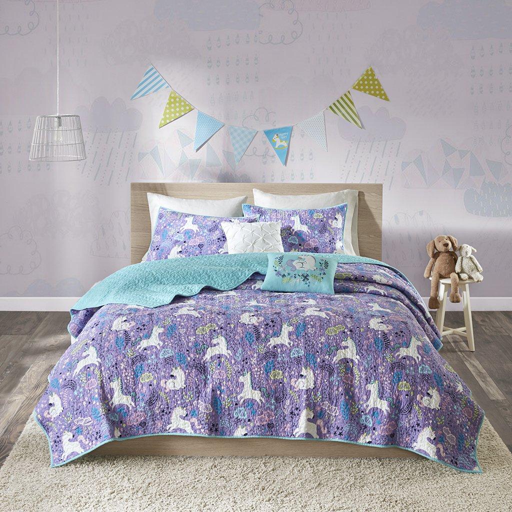 Urban Habitat Kids Lola Full/Queen Bedding for Girls Quilt Set - Purple, Aqua, Unicorns – 5 Piece Kids Girls Quilts – 100% Cotton Quilt Sets Coverlet UHK13-0053