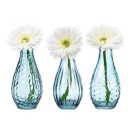 Amazon V More Light Blue Glass Bottle Flower Bud Vase Bubble