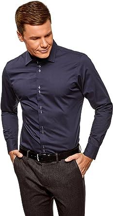 oodji Ultra Hombre Camisa Entallada de Manga Larga: Amazon.es: Ropa y accesorios