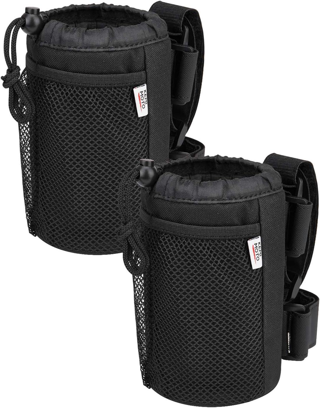 (2 Pack) kemimoto Wheelchair Cup Holder, Rollator Drink Holder Universal Walker Stroller Water Bottle Carrier with Mesh Pockets-Washable Collapsible Adjustable, Black