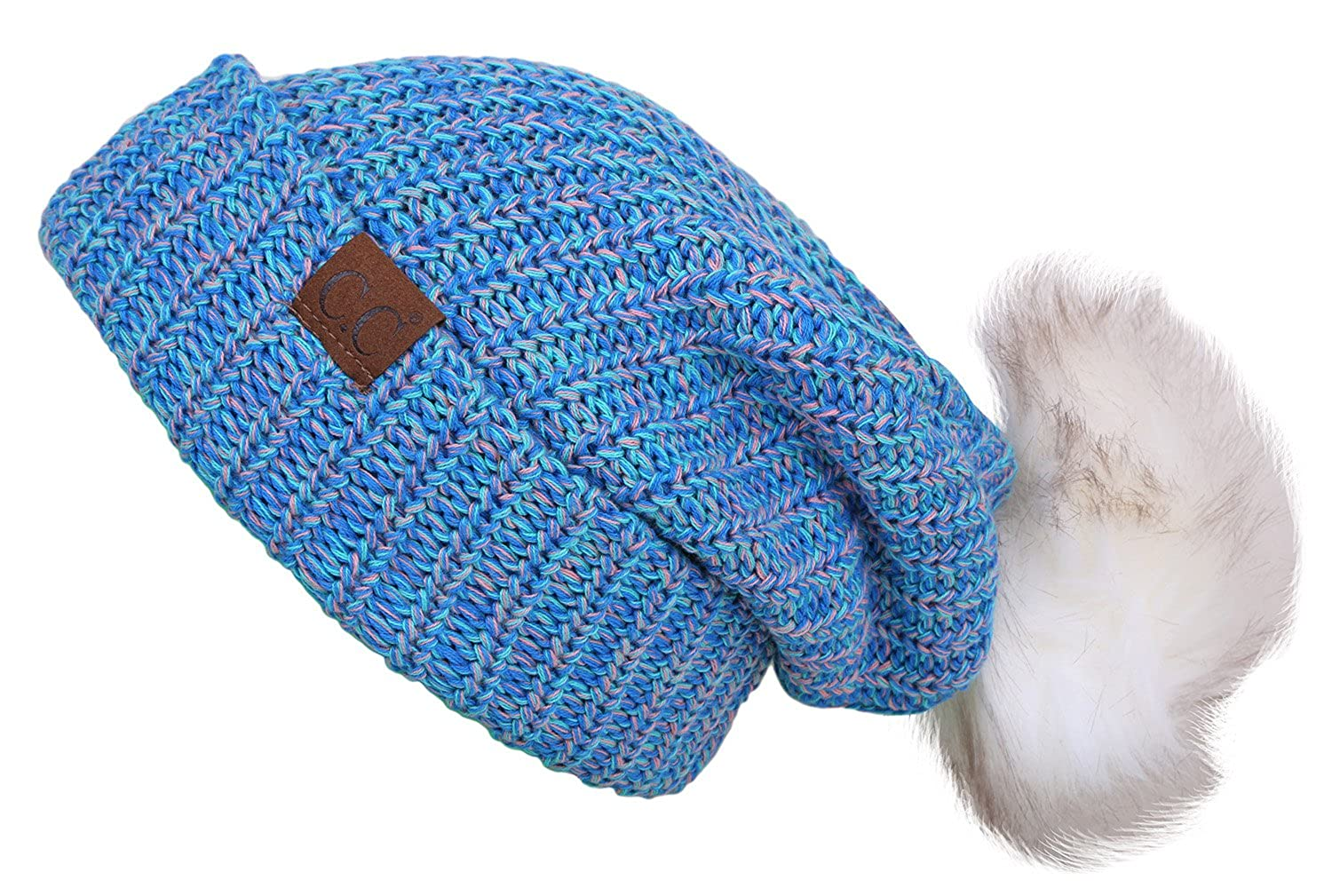 a8d39de38f1 H-6043-6111 Funky Junque Slouchy Beanie w  Removable Pom - Blue (White Pom)  at Amazon Women s Clothing store
