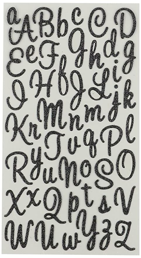 Sticko Corazones Negro Script Alfabeto Adhesivo Amazones Hogar