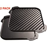 Amazon.com: BUNDLE Cast Iron 10.5-inch Square Grill Pan and 🎁 free ...
