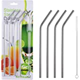 4 Pcs Reusable Metal Drinking Straws - 8.5Inch Stainless Steel Straws,6mm Diameter Wide - Compatible with 20oz Yeti…