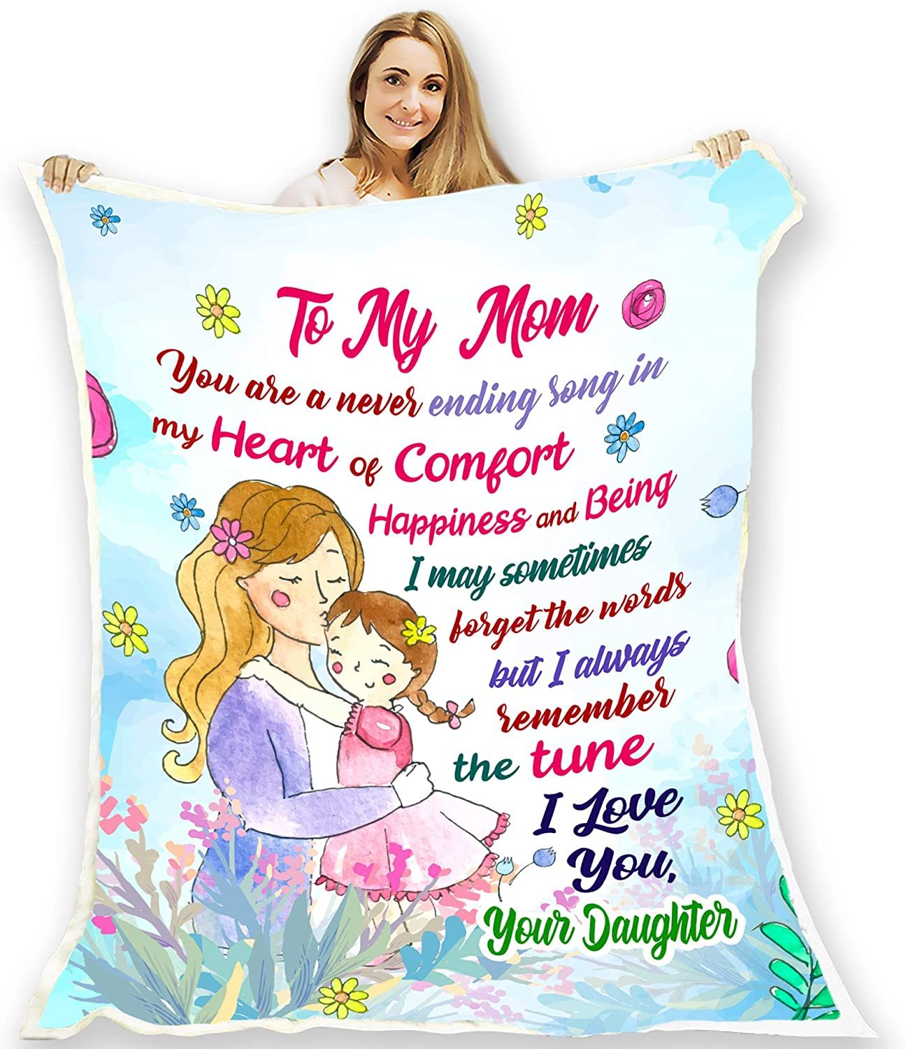 "to My Mom I Love You, Blanket for Mother with Children's Name, and with Quotes, Birthday Gifts for her. Supersoft and Cozy Blanket {60""x 80""}"