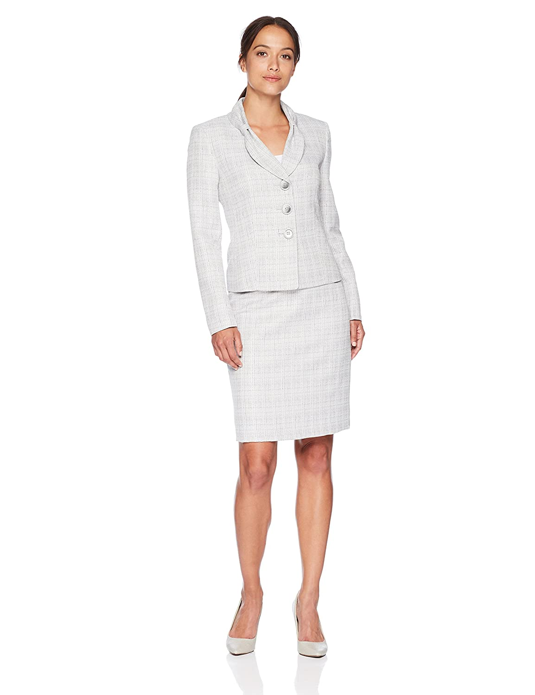 LeSuit Womens Petite Petites Crossdye 3 Bttn Skirt Suit Le Suit 50036988
