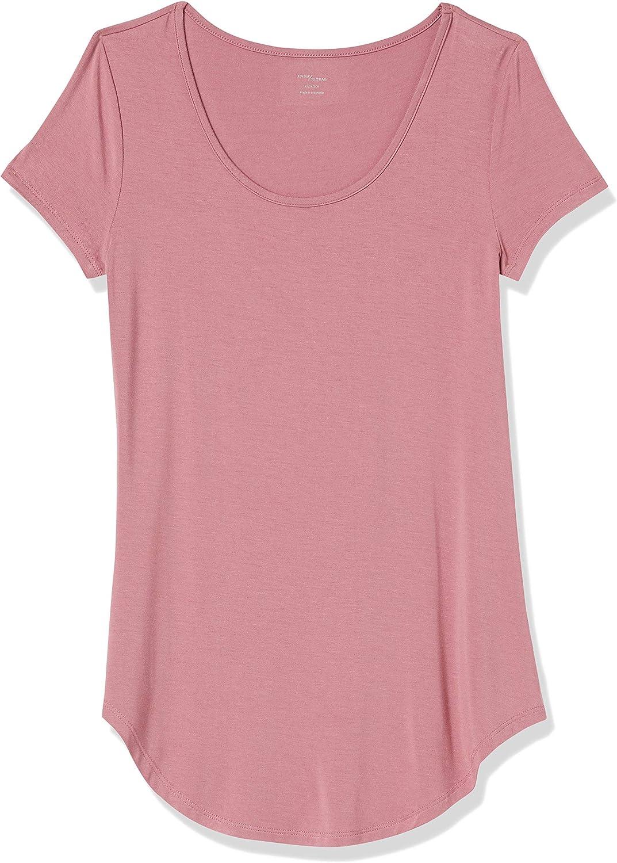 Brand - Daily Ritual Women's Jersey Short-Sleeve Scoop-Neck Longline T-Shirt: Clothing