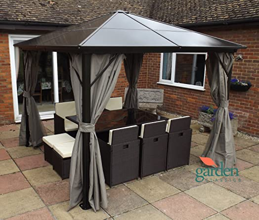 Luxury Swanbourne Garden Party Gazebo Hardtop Smoked Polycarbonate Roof 3m X Privacy Sides