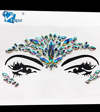 3f10fa315a Crystal Tattoos Face Jewels Festival Rhinestones Gems Stickers Body  Temporary Tattoos Bindi Eyes Stones Mermaid for Rave Party Face Rocks  (Purple/J31)