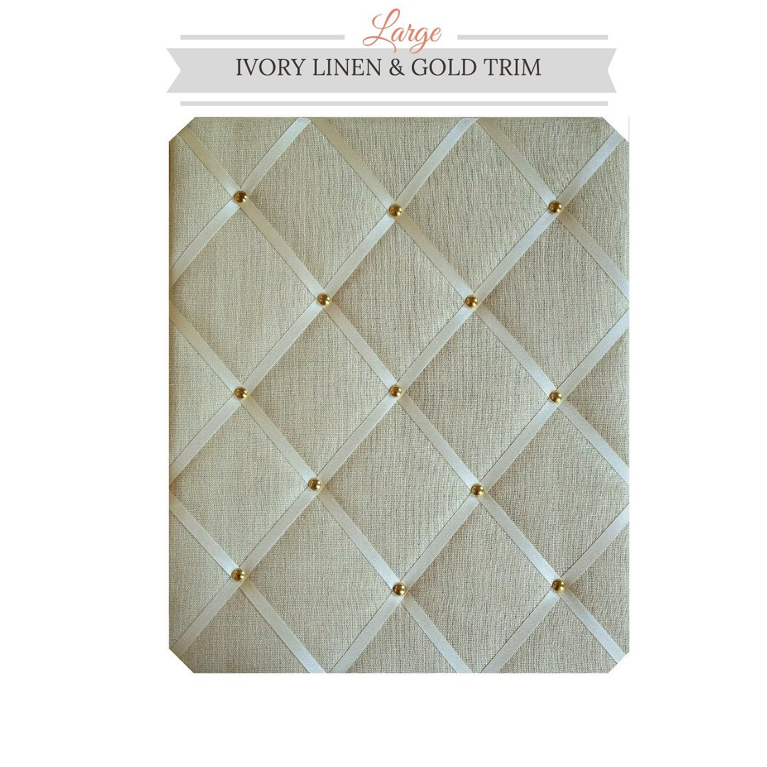 Large Size Ivory Linen Memo Board with Gold Studwork