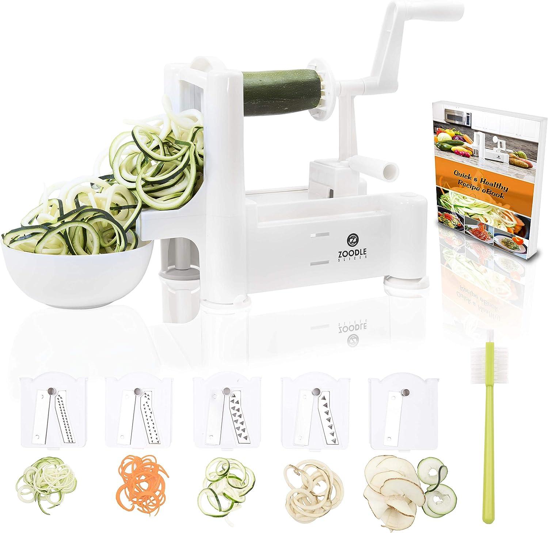 Zoodle Slicer ZS002 The Original 5-Blade Vegetable, Spiral Slicer Bundle (with Cleaning Brush, Peeler & eBook), Desktop
