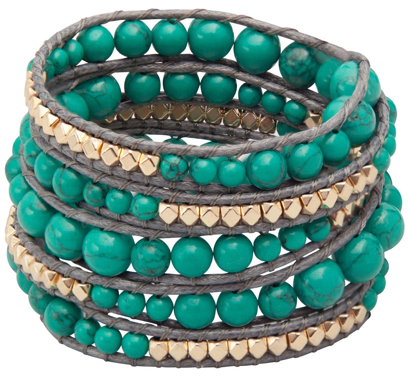 Genuine Stones 5 Wrap Bracelet - Bangle Cuff Rope With Beads - Unisex - Free Size Adjustable (Turquoise) by Sun Life Style (Image #4)