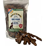 Organic Grain Free Dog Treats Made in USA Only - All Natural, Meaty Beef Sticks - Premium Slow Roasted American Beef - Grass Fed, Farm Raised - No Additives - Crunchy & Delicious - Dogs Love