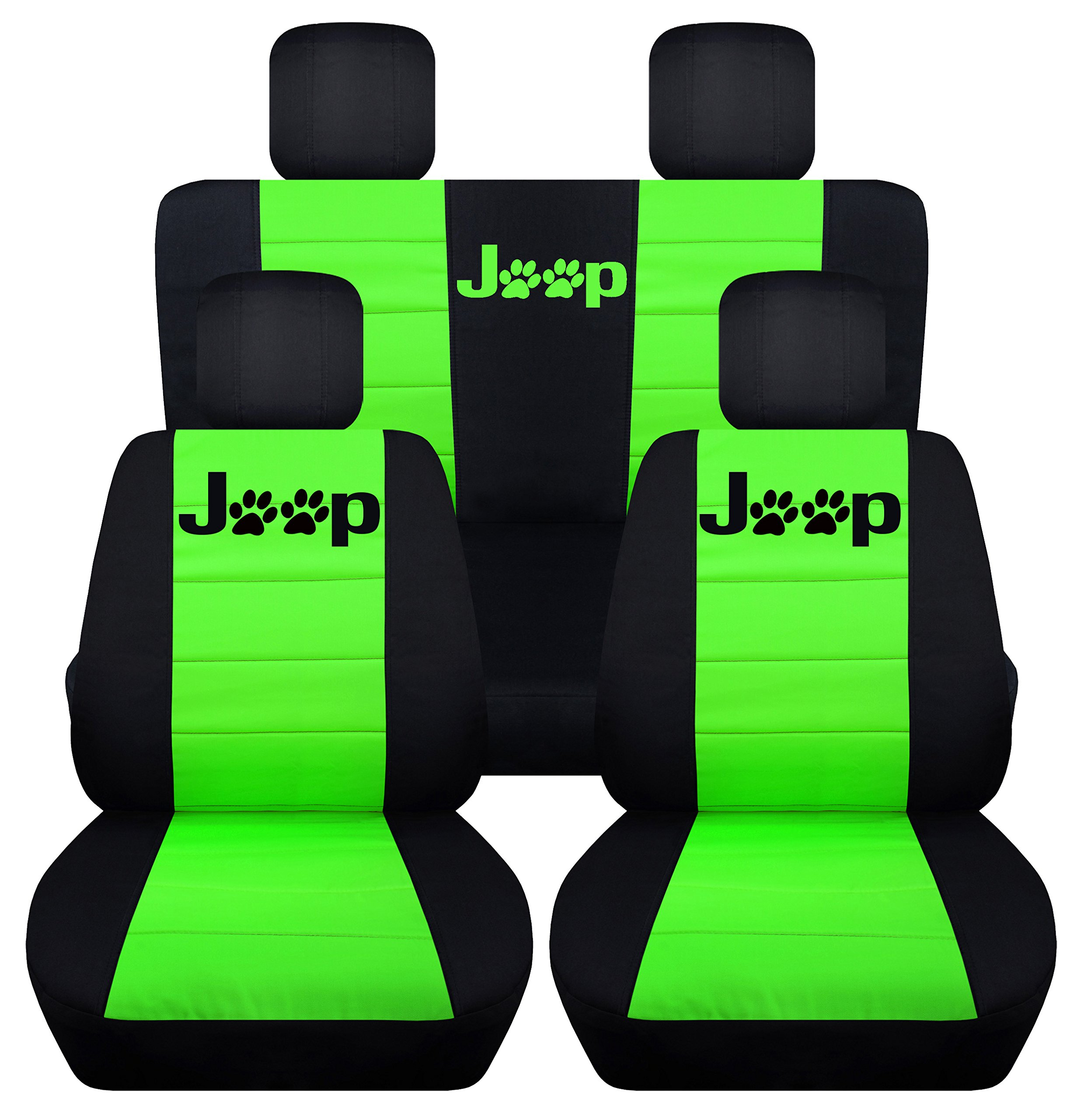 Designcovers Fits 2007 to 2010 Jeep Wrangler Jeep Paw Prints 22 Color Options (4 Door, Black Lime Green)