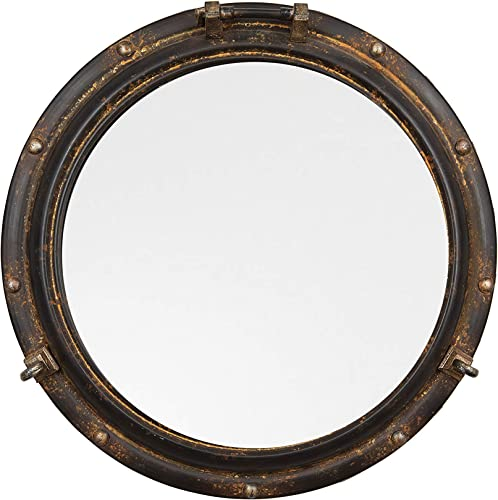 Creative Co-Op Distressed Metal Port Hole Reflective Framed Mirror