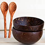 Natural Smoothie Coconut Bowls and Spoons (set of 2) - Polished with Coconut Oil, Durable, Lightweight, Useful, Large Wooden Serving Bowl for Salads, Breakfast, Decoration, Vegan Organic Friendly