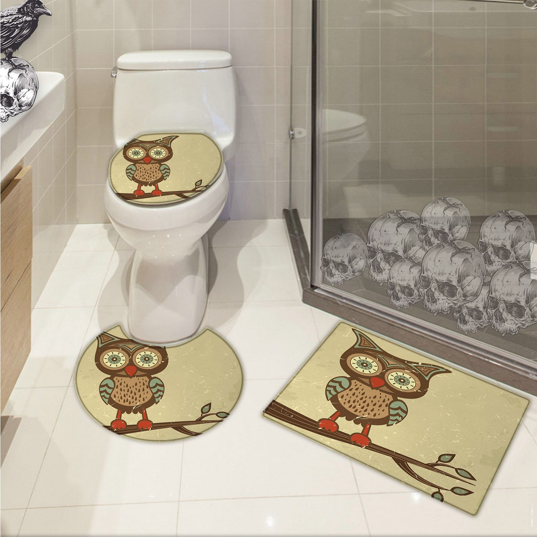 jwchijimwyc Owl 3 Piece Extended bath mat set Cute Owl Sitting on Branch Eyesight Animal Humor Pastel Retro Modern Graphic Increase Brown Cream Red Teal