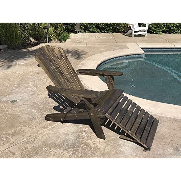 TruePower Outdoor Patio Deck Garden Foldable Adirondack Wood Chair with Pull Out Ottoman