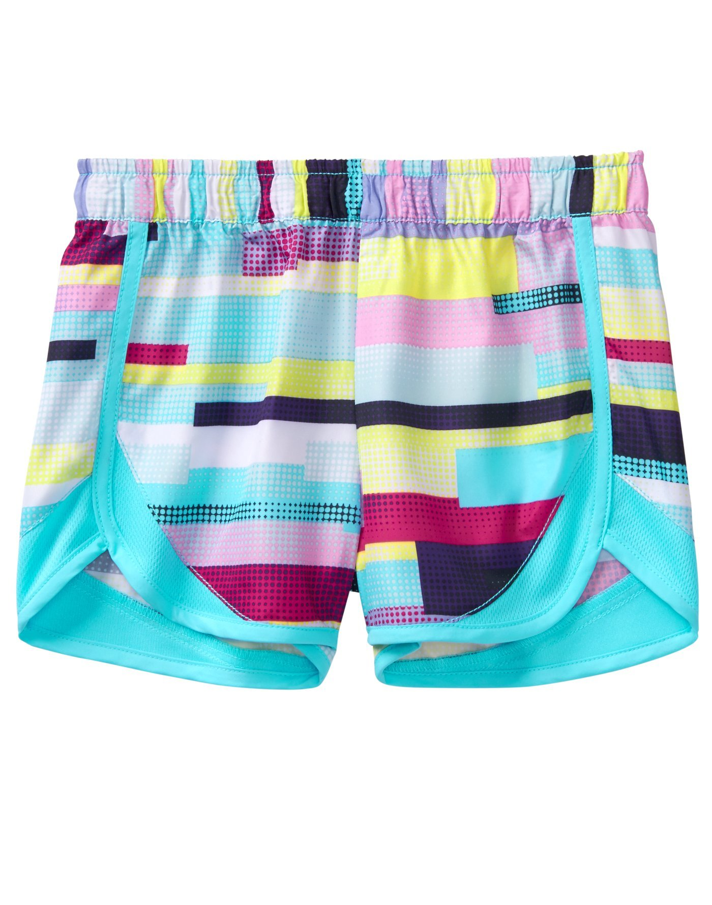 Crazy 8 Little Girls' Active Mesh Dolphin Hem Short, Blue/Multi, M