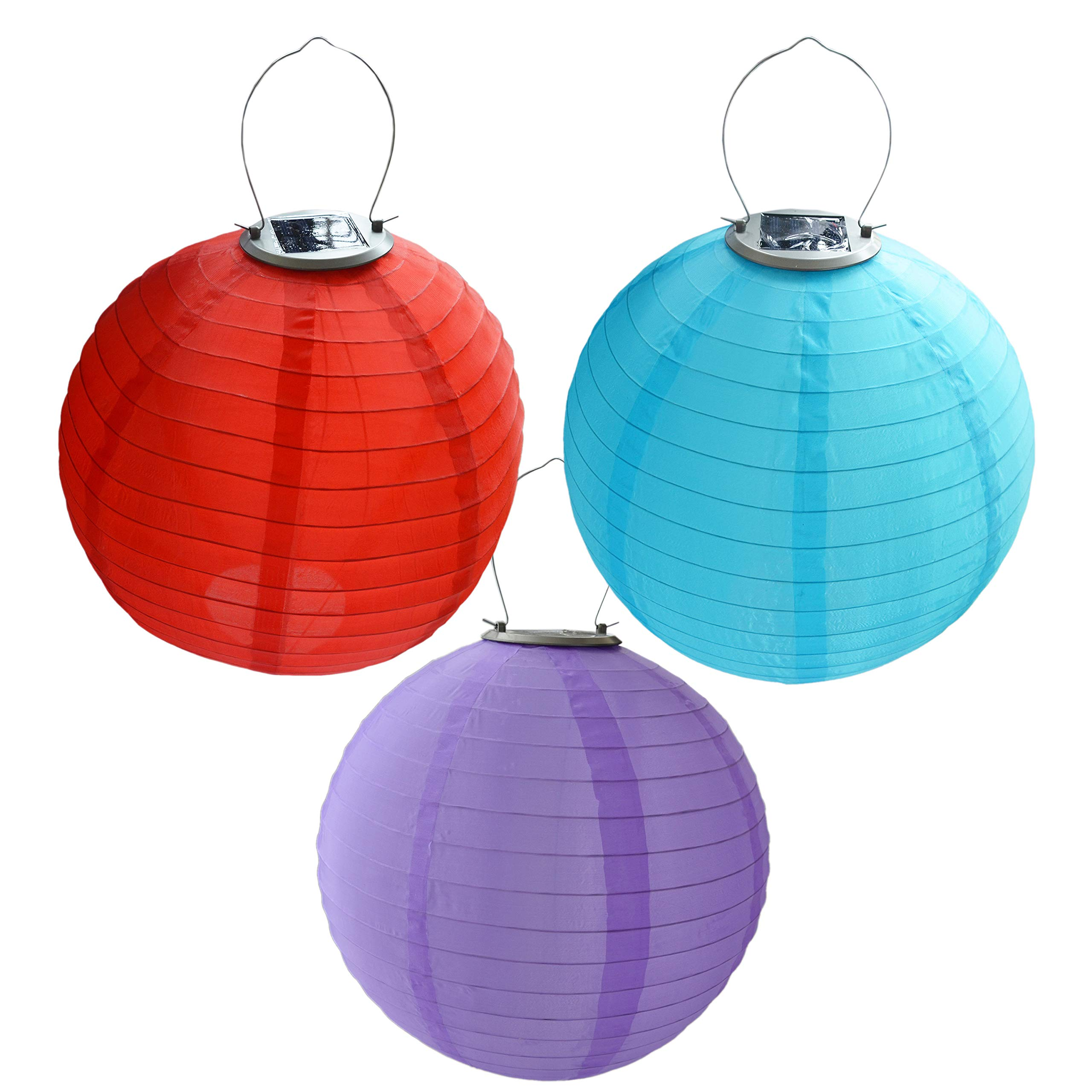HKBAYI 3PCS/set 30cm Solar Powered Hanging Oriental 12'' 12inch Weatherproof Rechargeable Nylon Chinese Lanterns with 1W 5050SMD LED light Bulb and AA Battery - Red Purple and Blue