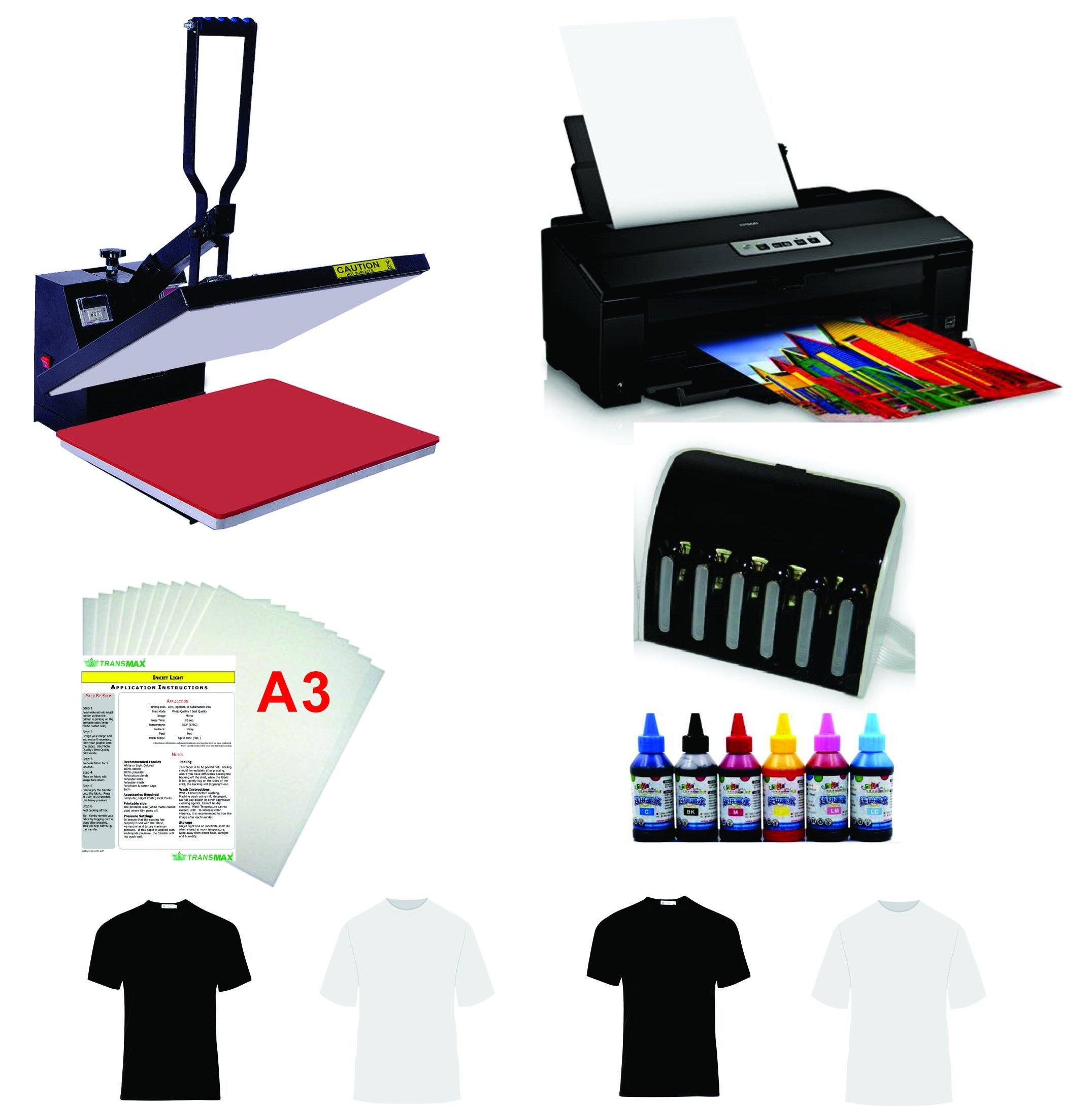 16''X20'' Flat Heat Press A3 Epson Printer Paper Ink CISS Start-up KIT T-shirts by TRANSFER WORLD
