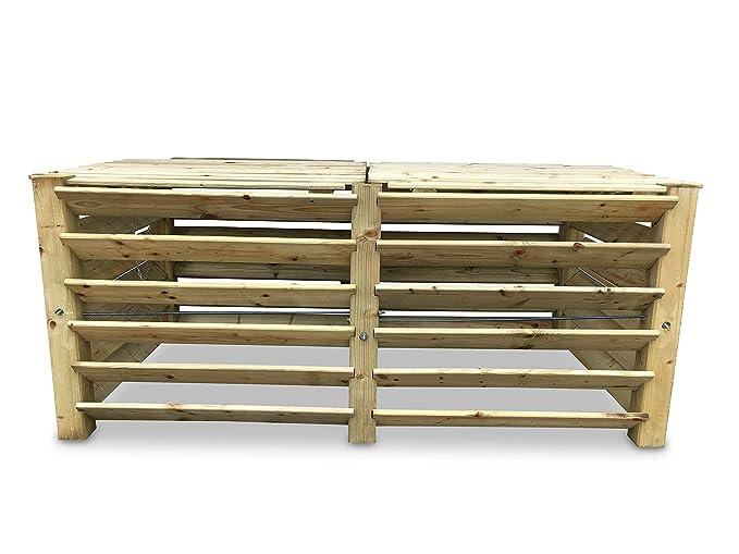 GartenDepot24 Compostador Doble de Madera, 188 x 100 x 80 cm ...