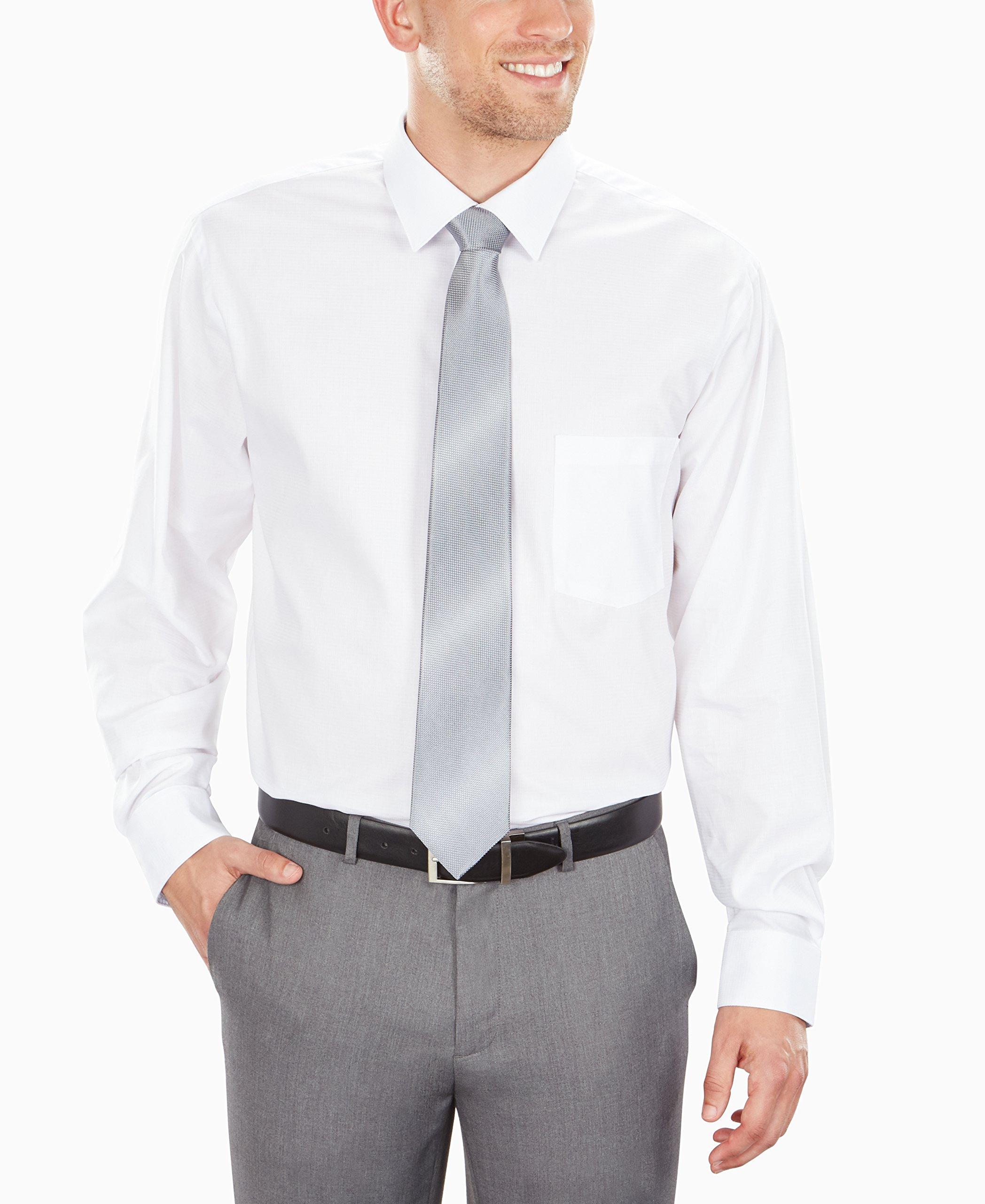 2a1a75c885a9 Van Heusen Men's Air Regular Fit Solid Spread Collar Dress Shirt, White,  17.5