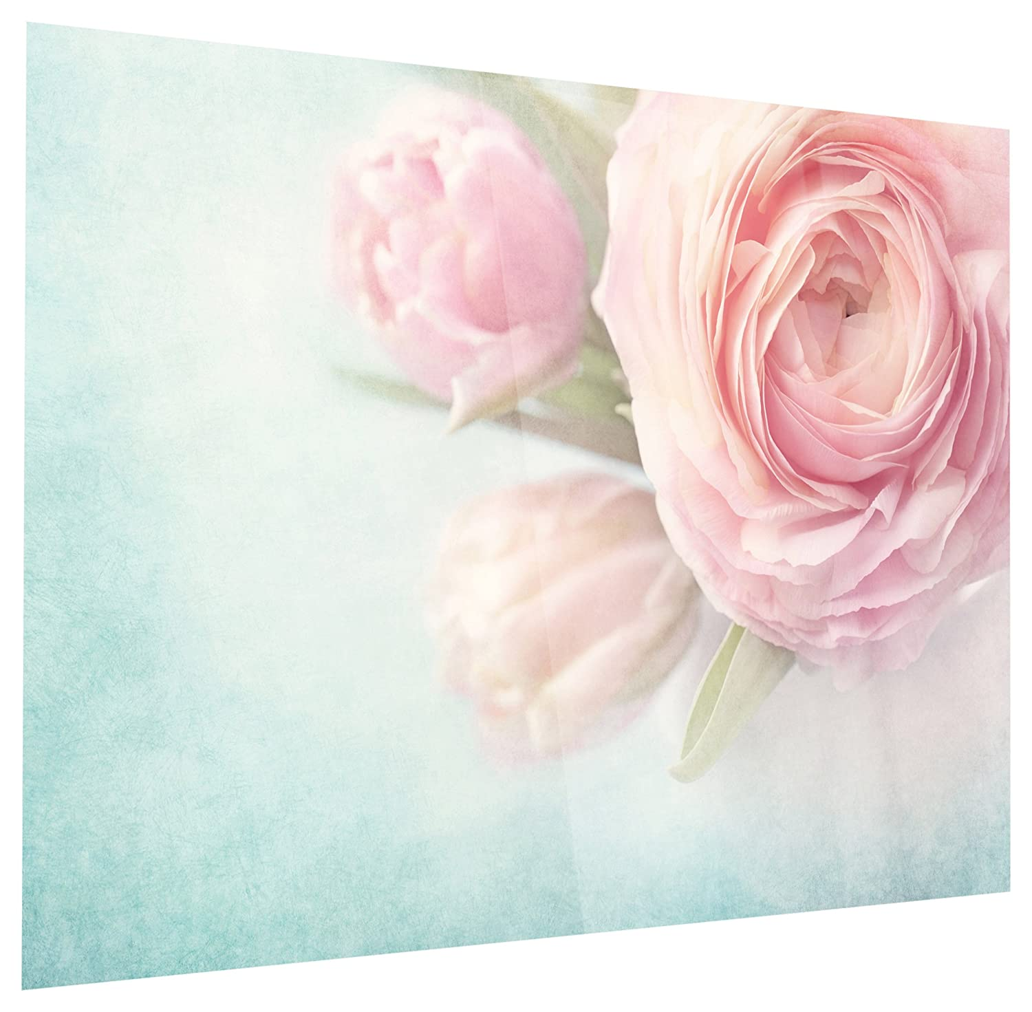Floral Glossy Metal Wall Art,Blue Pink,60x32 Designart MT14222-373 Pink Flowers Against Blue Background
