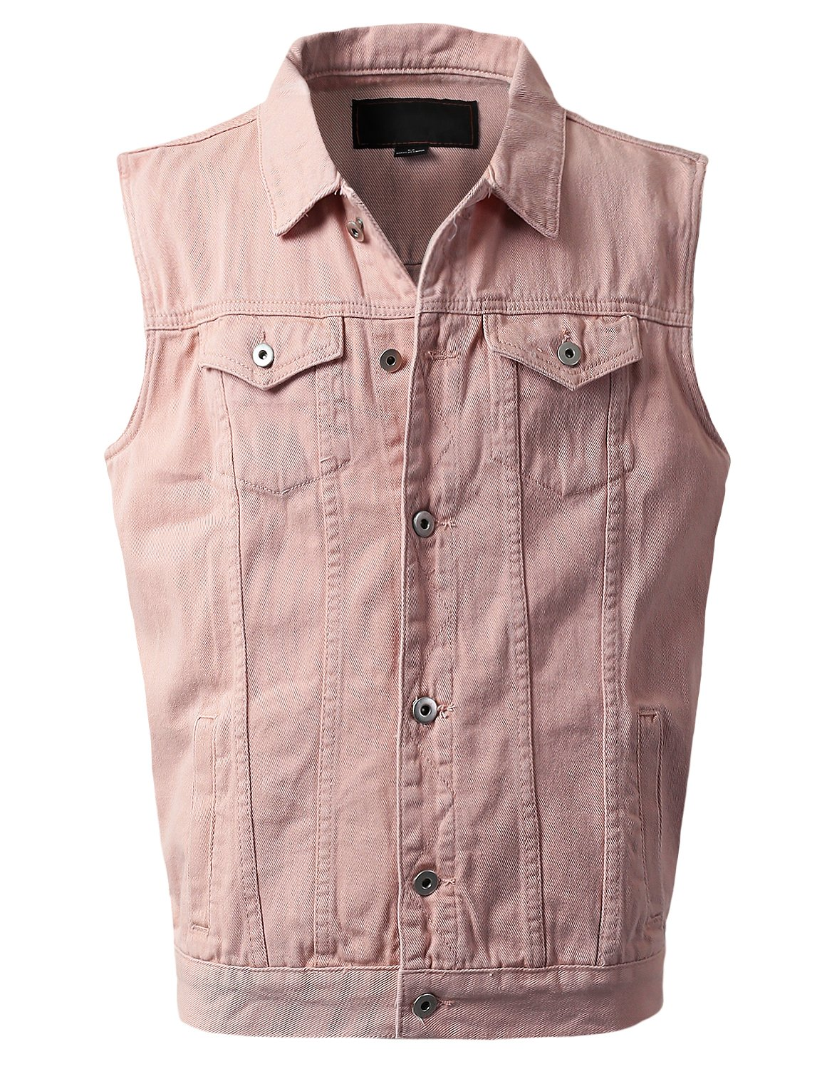 URBANCREWS Mens Hipster Hip Hop Fashion Denim Vest Jacket Pink, M by URBANCREWS