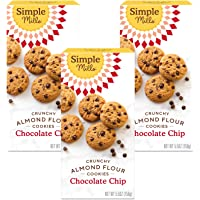 Simple Mills Almond Flour Chocolate Chip Cookies, Gluten Free and Delicious Crunchy Cookies, Organic Coconut Oil, Good…