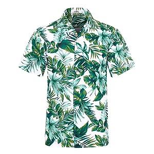 アロハシャツ メンズ 半袖 UVカット 軽量 薄手 プリントシャツ ハワイ風 通気速乾 カジュアル 夏服 オシャレ EHS007-2XL(JP 3XL)