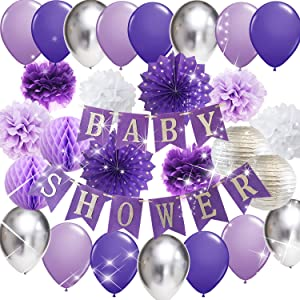Purple Elephant Baby Shower Decorations Baby Shower Banner Purple Silver Latex Balloons Polka Dot Paper Fans for Girl Baby Shower Photo Backdrop Purple Elephant Baby Shower Decorations