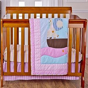 Dream On Me 3 Piece Reversible Portable Crib Bedding Set, Sea Friends