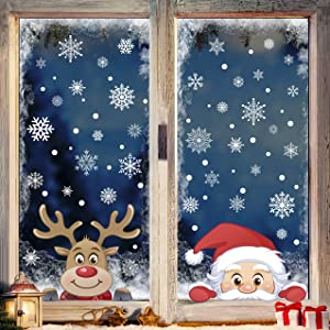 Christmas Snowflake Window Clings Decals Reindeer Santa Claus 207pcs White Snowflakes Stickers Decorations for Holiday Merry Christmas Winter Frozen Theme Party Snow Xmas Decor
