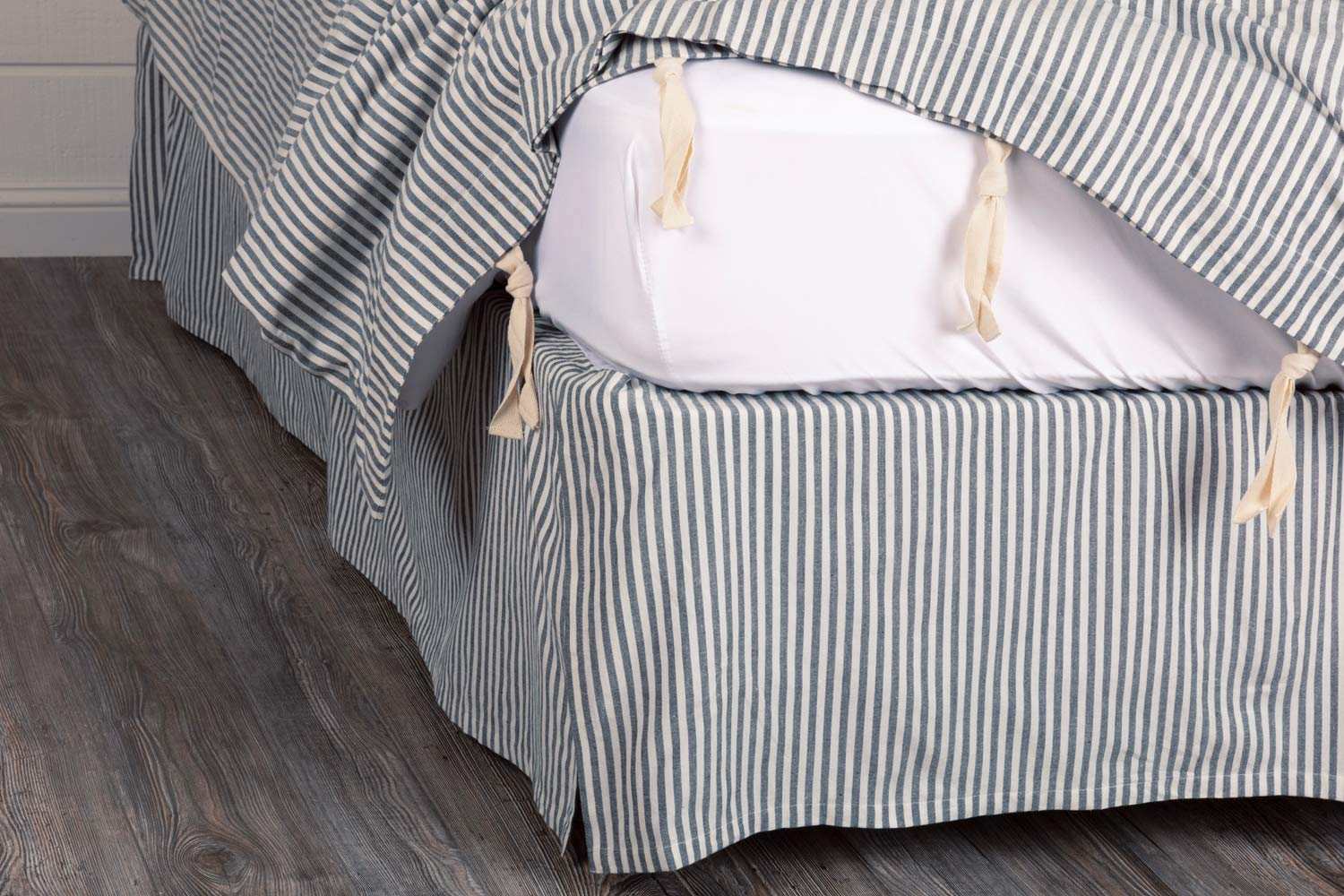 Piper Classics Farmhouse Ticking Blue King Bed Skirt, 78x80 w/ 16'' Drop, Tailored Dust Ruffle by Piper Classics (Image #2)