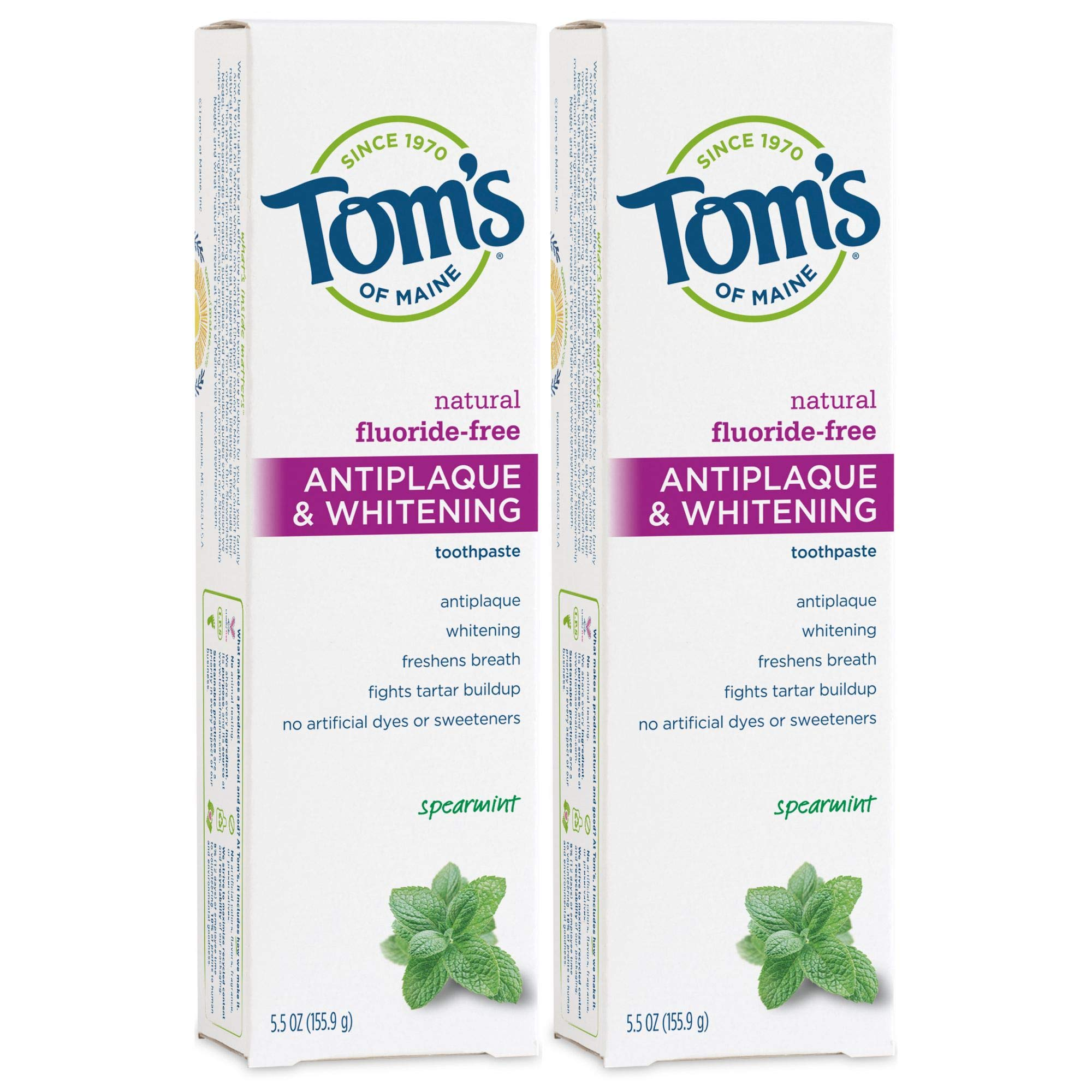 Tom's of Maine Fluoride-Free Antiplaque & Whitening Natural Toothpaste, Spearmint, 5.5 oz. 2-Pack