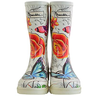 Anuschka Women's Mid-Calf Rain Boot   Handmade Waterproof Natural Rubber   Memory Foam Insole: Clothing