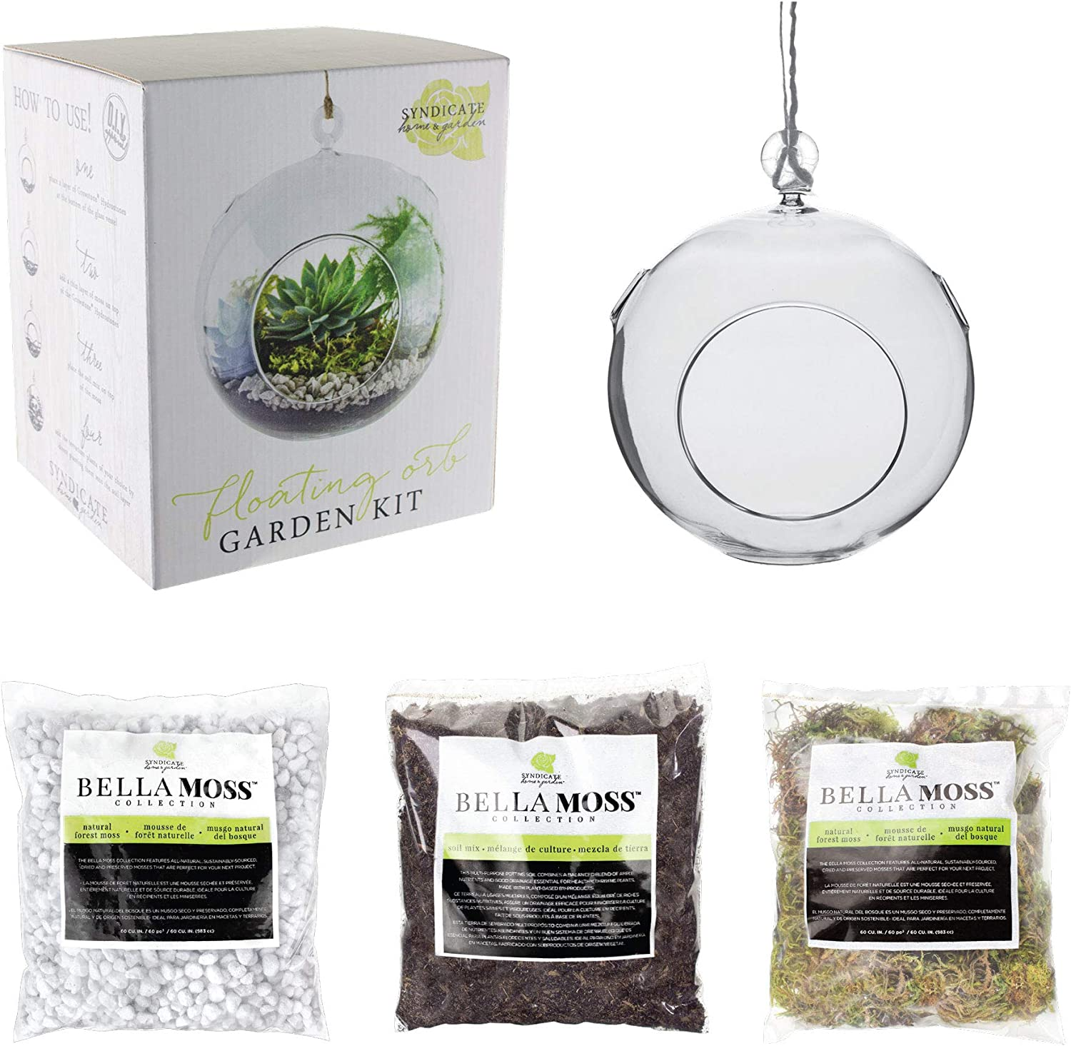 Syndicate Home & Garden Floating Orb Garden Kit, Includes Glass Container, Stone, Soil and Moss