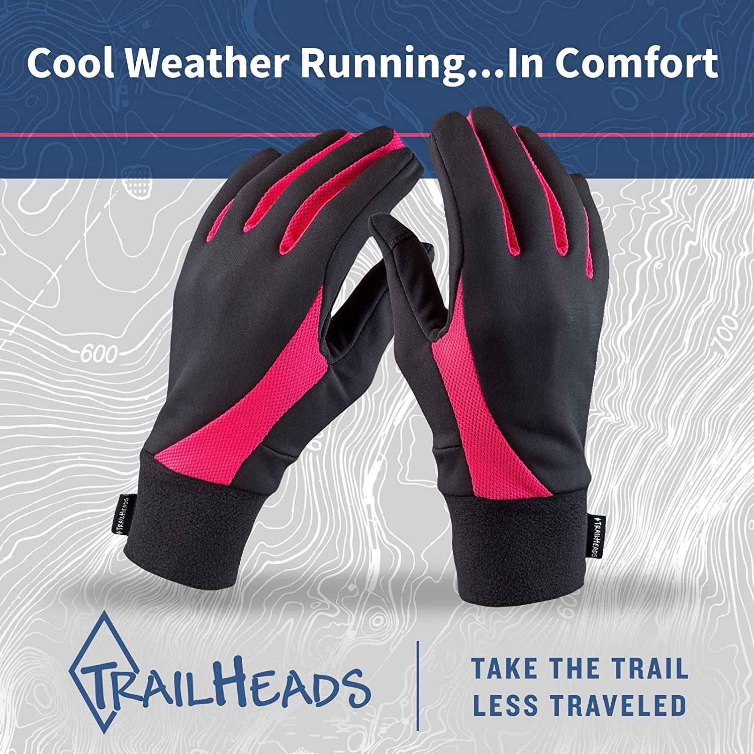 Black//Bright Coral Lightweight Gloves with Touchscreen Fingers TrailHeads Running Gloves for Women