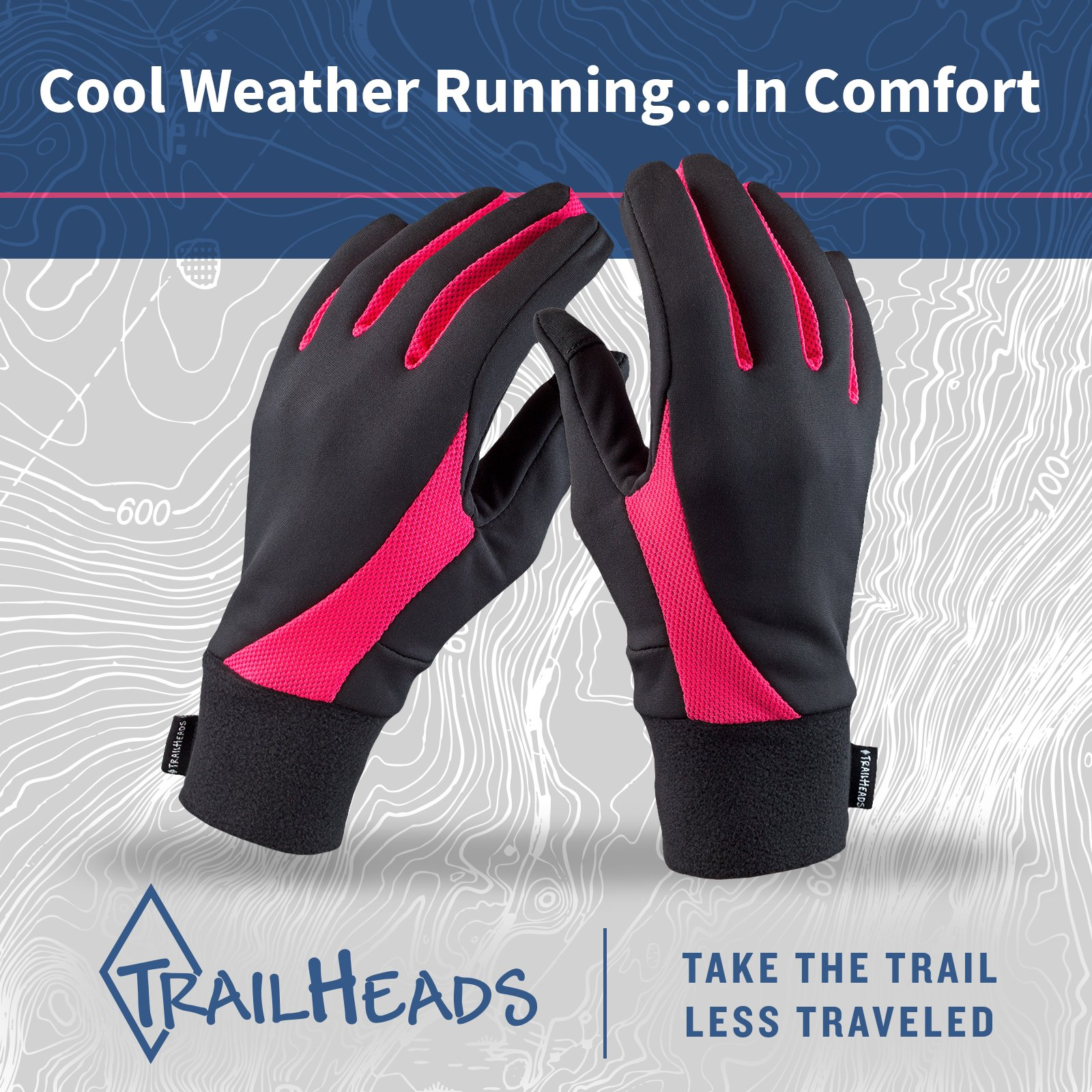 TrailHeads Running Gloves   Lightweight Gloves with Touchscreen Fingers -Black/Bright Coral (Large) by TrailHeads (Image #5)