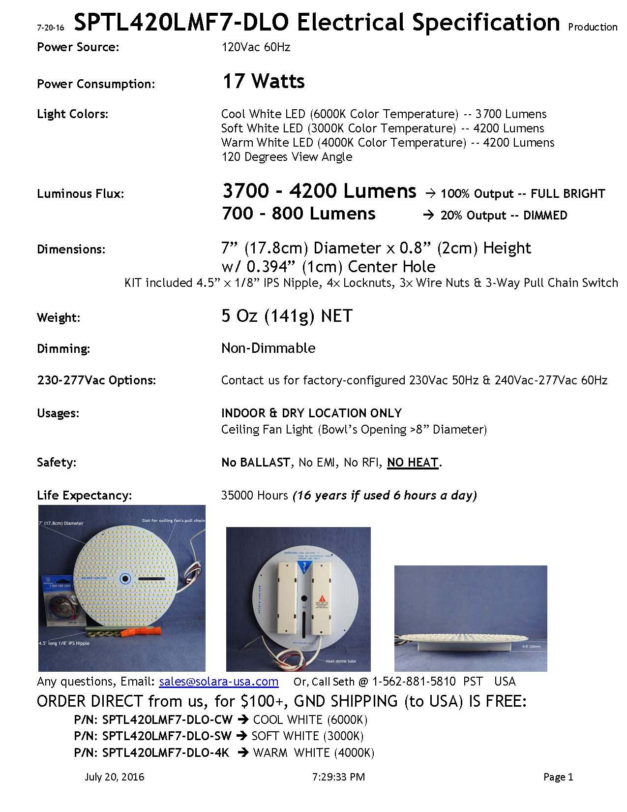 Frosted Glass Bowl w/ LED Panel KIT w/ DUAL LIGHT OUTPUT -- 7'' Diameter -- SOFT WHITE (3000K), 4000lumens 17Watts. For ANTIQUE BRASS Ceiling Fan, P/N: SPTL420LMF7-DLO-SW+KIT#85173-ABR by SOLARA-USA (Image #7)