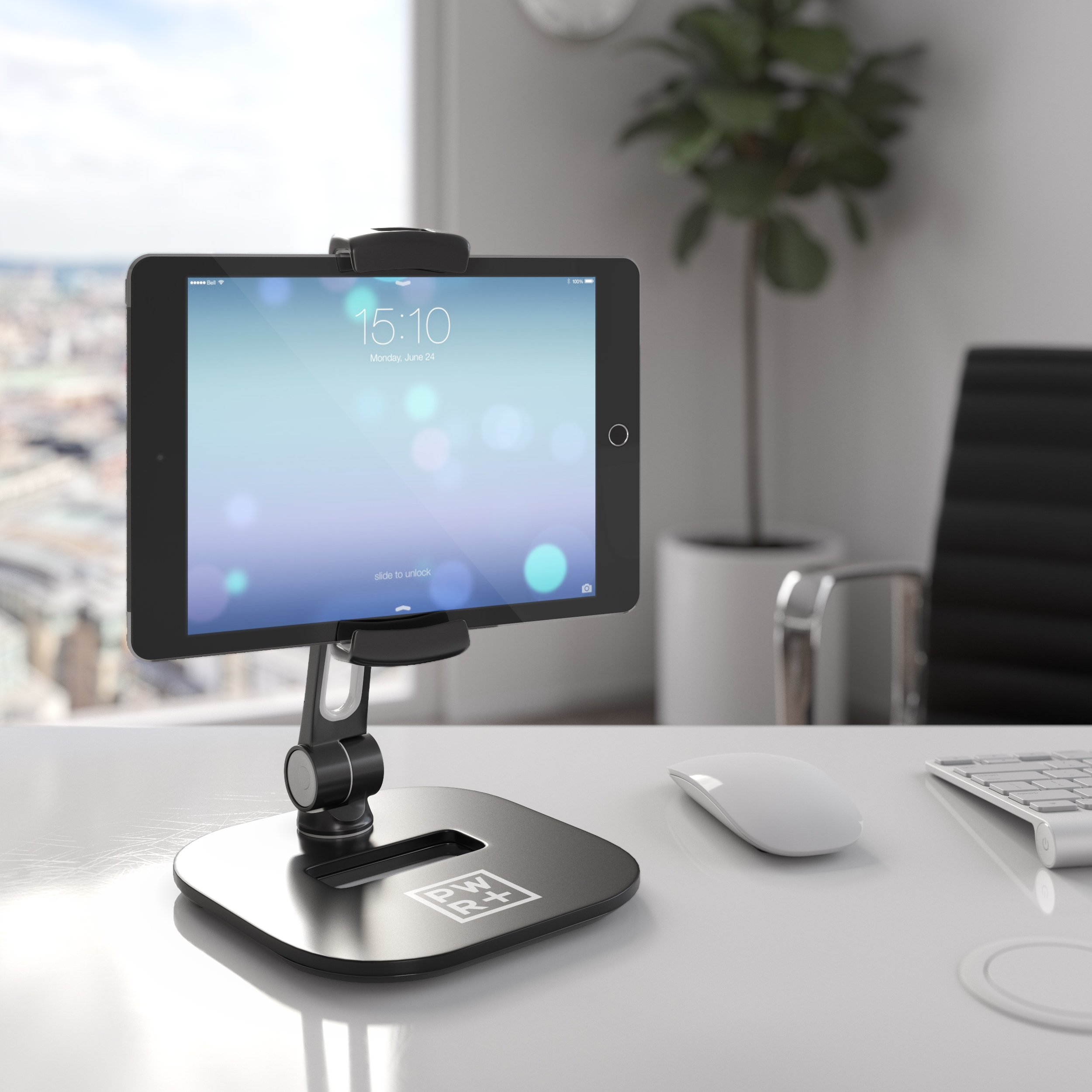 Tablet Stands and Holders Adjustable: Pwr Stylish Tablet Cell Phone Holder 360 degree Swivel Angle Rotation for 4-11'' Tab Phone iPad Samsung Galaxy Perfect POS Kitchen Bedside Office Table Reception by PWR+ (Image #5)