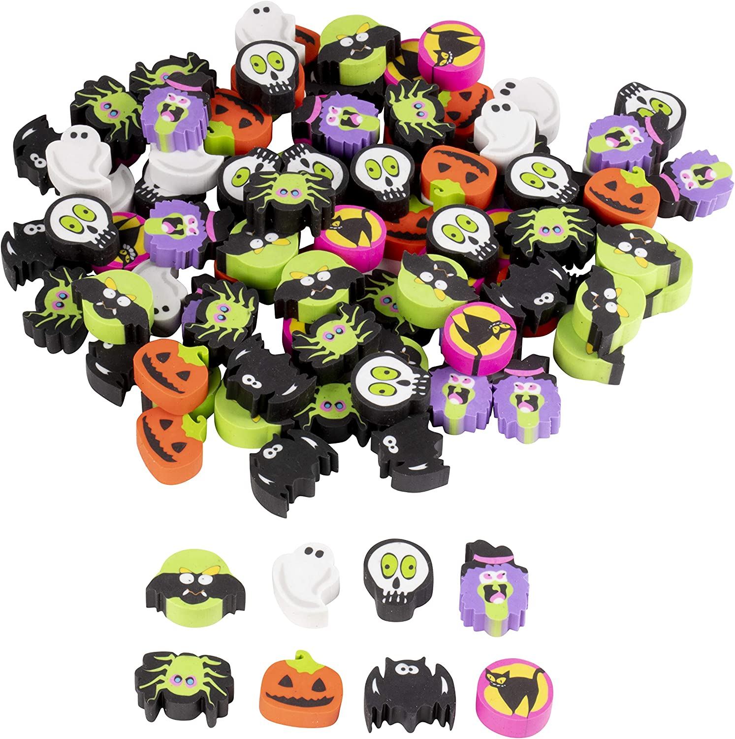 Classroom Rewards Trick-or-Treat 8 Assorted Designs 1.3 x 1.1 x 0.5 Inches 100-Pack Mini Eraser for Kids Giveaways Carnival Prizes Goodie Bags Halloween Party Favors