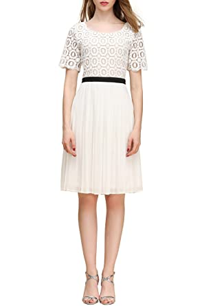 fadf85811df Little Smily Women s Crochet Lace Scoop Neck Fit and Flare Knee Length Cocktail  Dress 1 2 Sleeve (Ivory-1