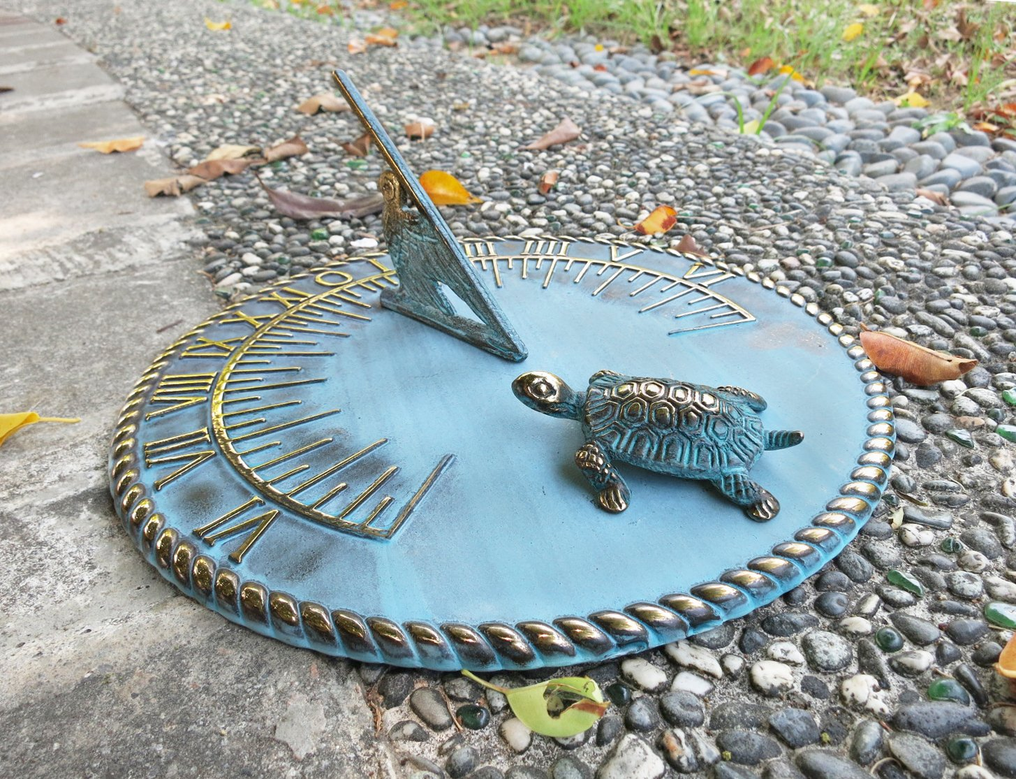 Brass Decorative Turtle Sundial 10'' Inches Wide